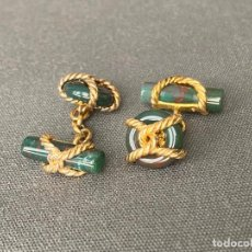 Antigüedades: GEMELOS DE PLATA DE LEY CONTRASTADOS 925 , DISEÑO , 1980 APROX. JADE. Lote 227968035
