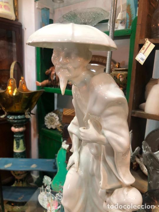 Antigüedades: FANTASTICA LAMPARA MANISES ORIENTAL CHINO - MEDIDA TOTAL 78 CM - FUNCIONANDO - Foto 3 - 227974492
