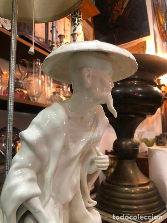 Antigüedades: FANTASTICA LAMPARA MANISES ORIENTAL CHINO - MEDIDA TOTAL 78 CM - FUNCIONANDO - Foto 9 - 227974492