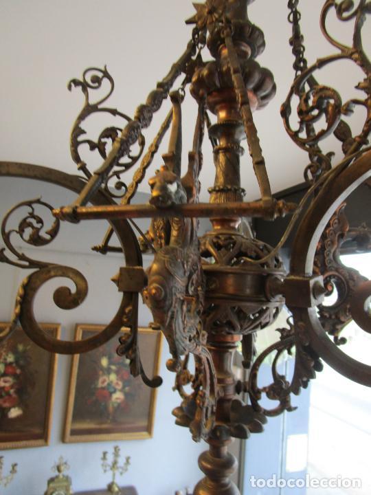 Antigüedades: Antigua Lámpara de Techo de Gas - Bronce - Tulipas de Cristal - 3 Luces - Electrificada - Funciona - Foto 11 - 228007275