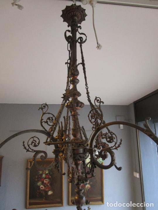 Antigüedades: Antigua Lámpara de Techo de Gas - Bronce - Tulipas de Cristal - 3 Luces - Electrificada - Funciona - Foto 18 - 228007275