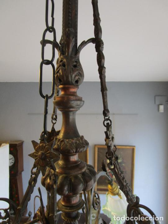 Antigüedades: Antigua Lámpara de Techo de Gas - Bronce - Tulipas de Cristal - 3 Luces - Electrificada - Funciona - Foto 21 - 228007275
