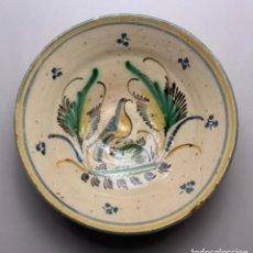 Antigüedades: PLATO HONDO PUENTE DEL ARZOBISPO, PÁJARO (S.XIX). Lote 228040495