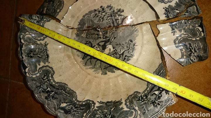 Antigüedades: Antigua fuente de cerámica esmaltada, con sello, fabricade Cartagena, ideal restauradores - Foto 4 - 228040675