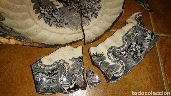 Antigüedades: Antigua fuente de cerámica esmaltada, con sello, fabricade Cartagena, ideal restauradores - Foto 7 - 228040675