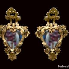 Antigüedades: SOBERBIA PAREJA DE ESPEJOS, CORNUCOPIAS DE MADERA DORADAS. FINAS Y ELEGANTES. XIX. 57X38. Lote 228045875