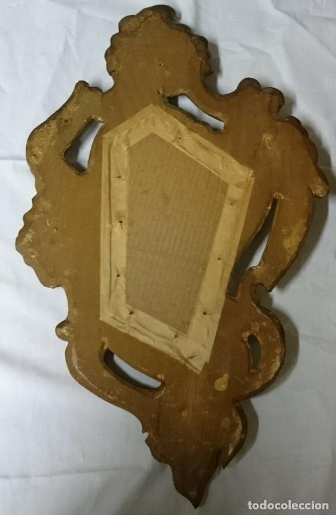 Antigüedades: Espejo, cornucopia de nogal dorada al oro fino. S.XVIII.54x32 cm - Foto 2 - 228046965