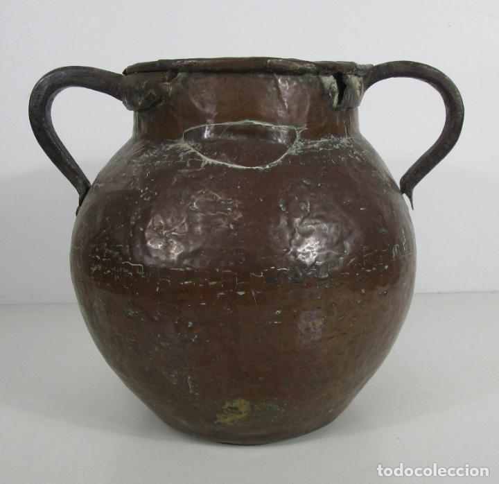 Antigüedades: Antigua Jarra de Cobre - Caldero - Asas de Hierro Forjado - S. XVIII-XIX - Foto 21 - 228140100