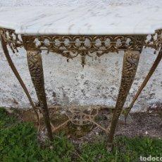 Antigüedades: ANTIGUA CONSOLA ENTRADITA DE BRONCE Y MARMOL. Lote 228154255