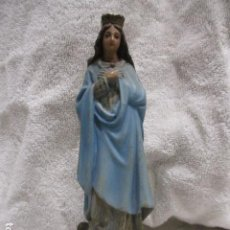 Antigüedades: ANTIGUA FIGURA DE VIRGEN, YESO POLICROMADO - 16,5 CM DE ALTURA.. Lote 228224573