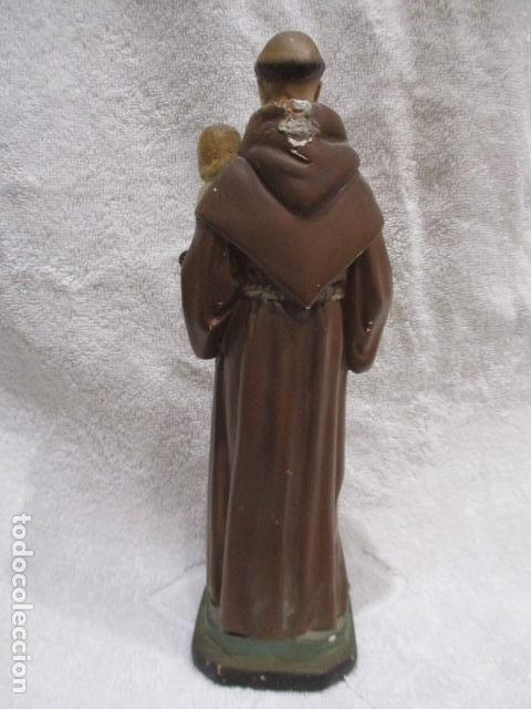 Antigüedades: San Antonio de Padua - Yeso Policromado - 23 cm Altura - Foto 9 - 228229670