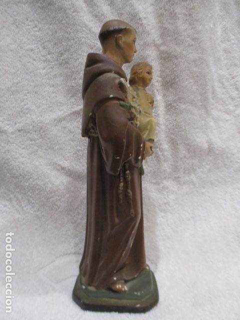 Antigüedades: San Antonio de Padua - Yeso Policromado - 23 cm Altura - Foto 10 - 228229670