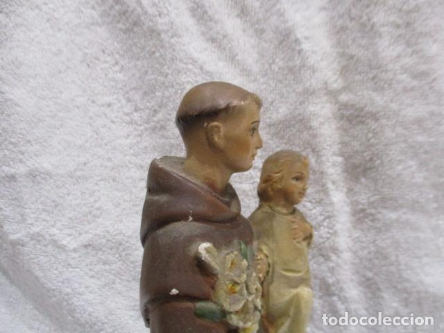 Antigüedades: San Antonio de Padua - Yeso Policromado - 23 cm Altura - Foto 11 - 228229670