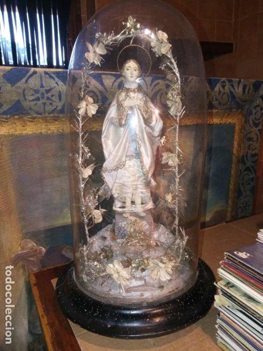 IMMACULADA - CAMPANA DE CRISTAL . (Antigüedades - Religiosas - Ornamentos Antiguos)
