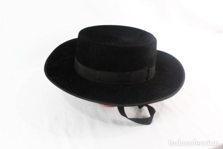 Antigüedades: Sombrero sevillano Maquedano, Sierpes 40 ca 1900 Talla 55 ca 1900 original de época - Foto 2 - 228314025