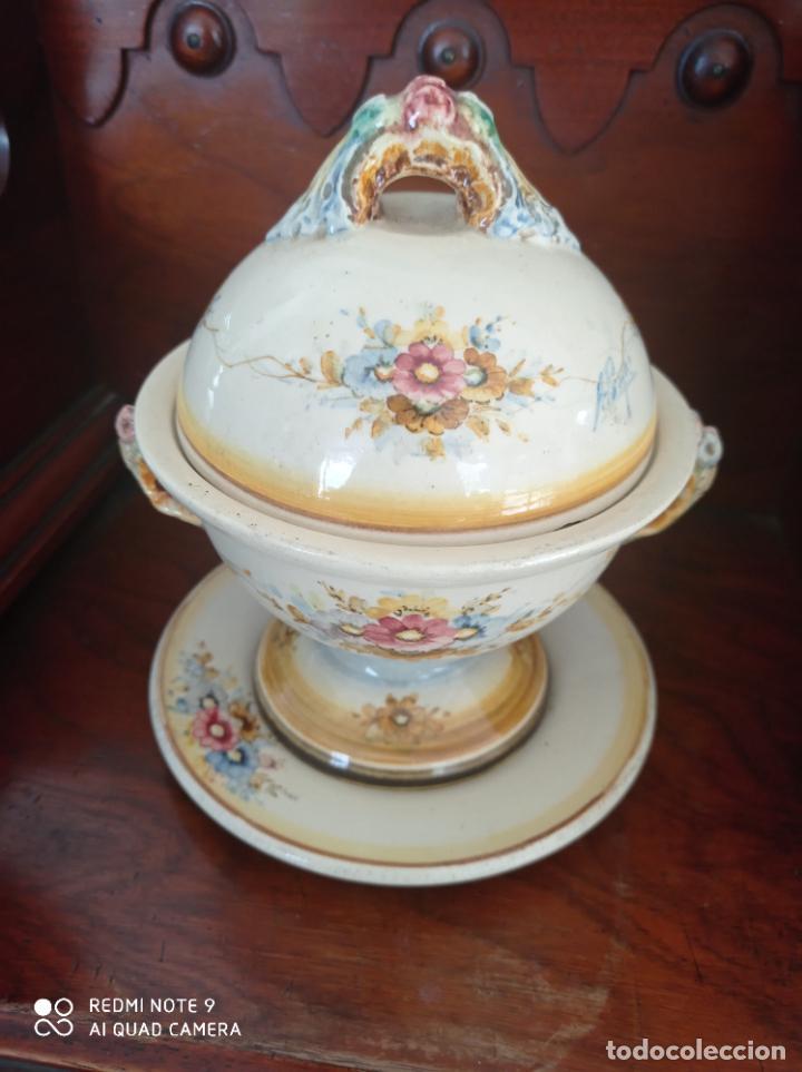 SOPERA CON PLATO DE FINALES DE 1800. VER FOTOS (Antigüedades - Porcelanas y Cerámicas - Otras)