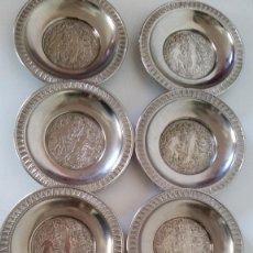 Antigüedades: COLECION DE 8 PLATITODSDIBURROS EN RELIEVO DE ADON Y EVA ES ESTANOTIENE EL SIMBOLO DO ANGELITO. Lote 228391130