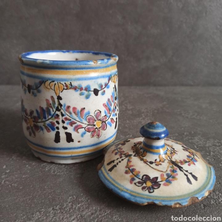Antigüedades: Antiguo tarro bote con tapa de cerámica * Alcora - Foto 2 - 228414540