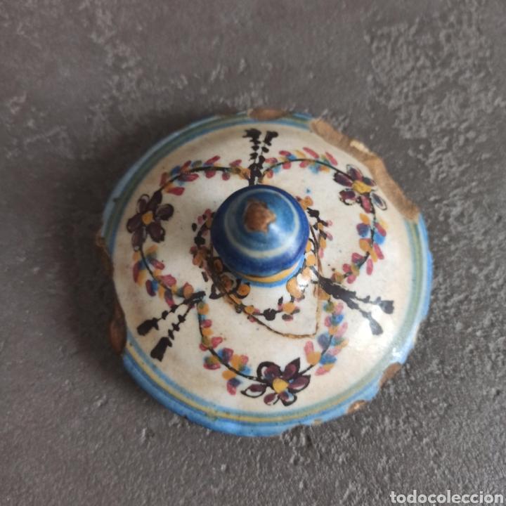 Antigüedades: Antiguo tarro bote con tapa de cerámica * Alcora - Foto 3 - 228414540