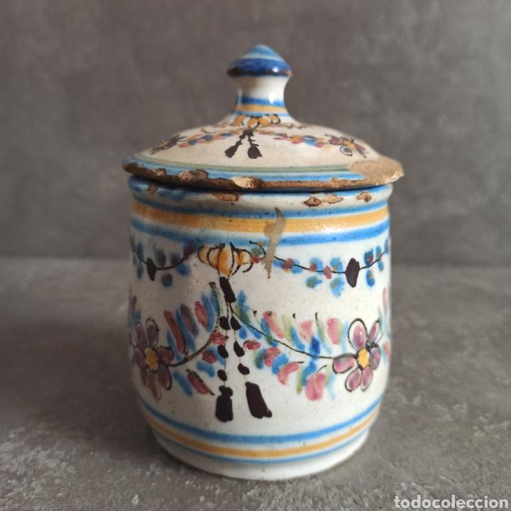 Antigüedades: Antiguo tarro bote con tapa de cerámica * Alcora - Foto 4 - 228414540