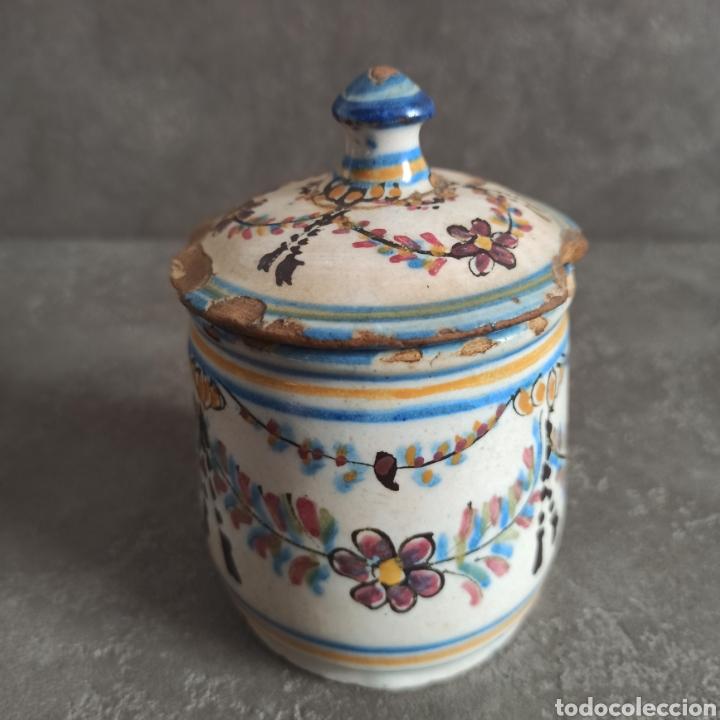 Antigüedades: Antiguo tarro bote con tapa de cerámica * Alcora - Foto 5 - 228414540