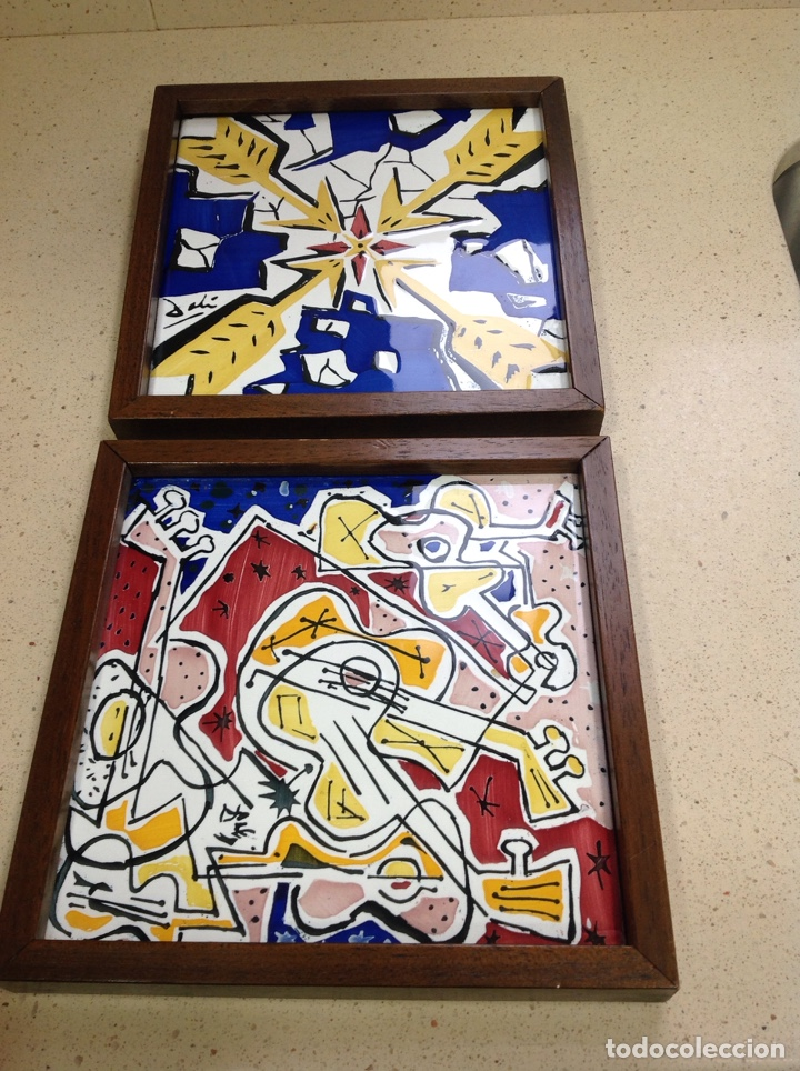 BALDOSAS SALVADOR DALÍ-.MAURICE DICHIN- DOS BALDOSAS (Antigüedades - Porcelanas y Cerámicas - Azulejos)