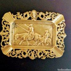 Antigüedades: CENICERO DE BRONCE,DON QUIJOTE & SANCHO. Lote 228419275