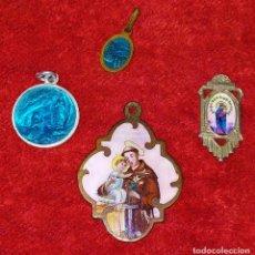 Antigüedades: LOTE DE 4 MEDALLAS RELIGIOSAS. SAN ANTONIO DE PADUA. VIRGEN MARIA. EUROPA. XIX-XX. Lote 228446530