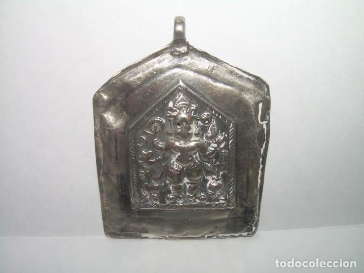 Antigüedades: ANTIGUA MEDALLA AMULETO O TALISMAN ORIENTAL...TOTALMENTE DE PLATA. - Foto 2 - 228486100