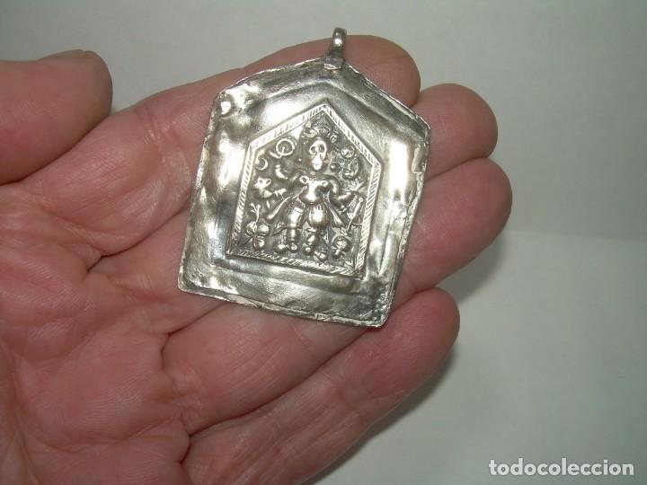 Antigüedades: ANTIGUA MEDALLA AMULETO O TALISMAN ORIENTAL...TOTALMENTE DE PLATA. - Foto 6 - 228486100