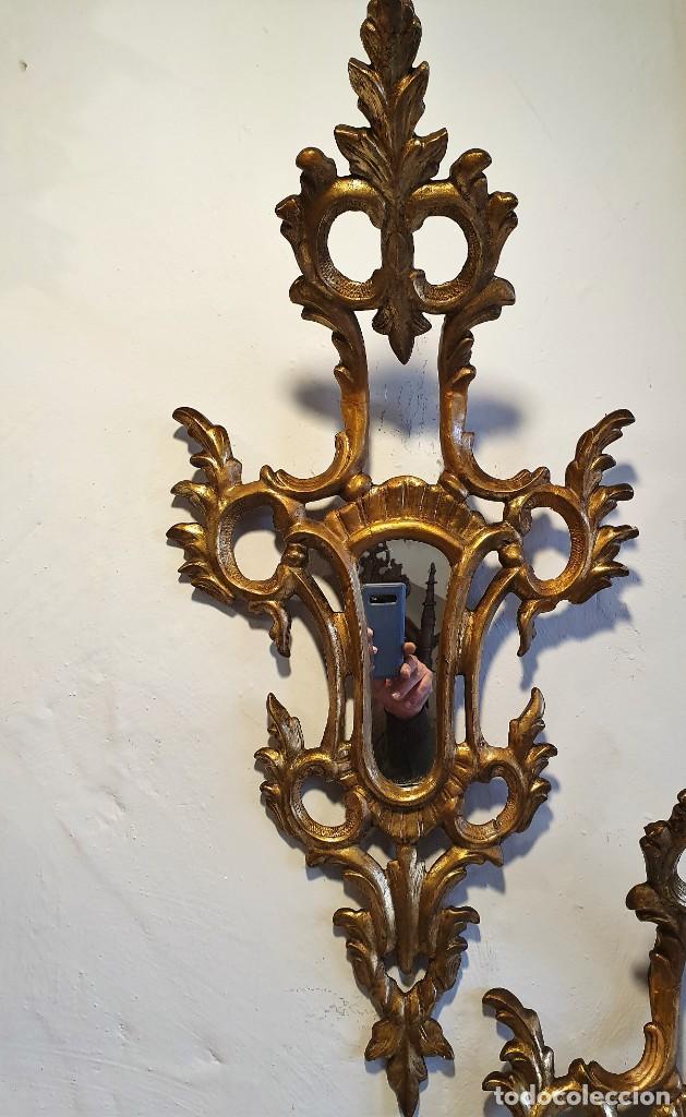 Antigüedades: PAREJA DE CORNUCOPIAS EN MADERA Y PAN DE ORO - Foto 2 - 228489655