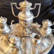 Antigüedades: JUEGO DE CAFE METAL BAÑO DE PLATA. Lote 228491472