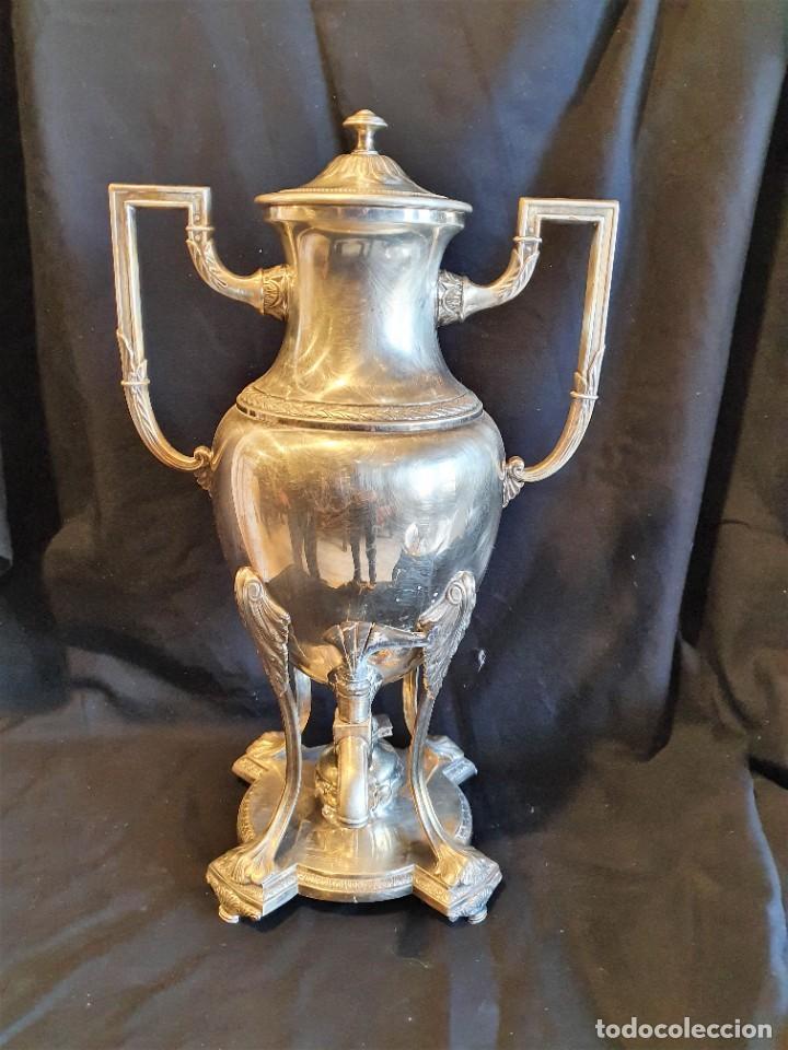 Antigüedades: JUEGO DE CAFE METAL BAÑO DE PLATA - Foto 3 - 228491472