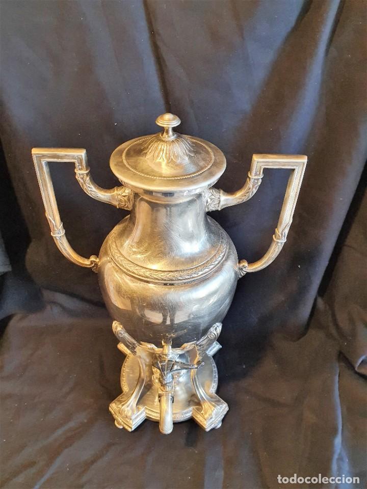 Antigüedades: JUEGO DE CAFE METAL BAÑO DE PLATA - Foto 4 - 228491472