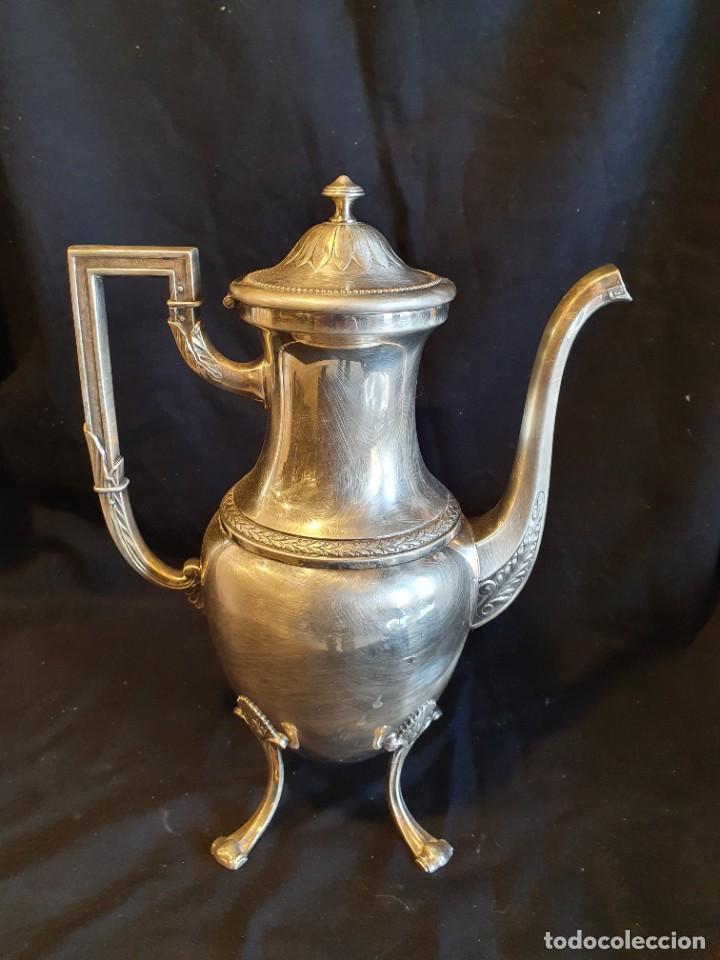 Antigüedades: JUEGO DE CAFE METAL BAÑO DE PLATA - Foto 5 - 228491472