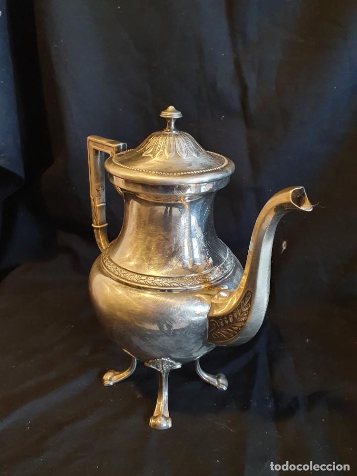 Antigüedades: JUEGO DE CAFE METAL BAÑO DE PLATA - Foto 6 - 228491472