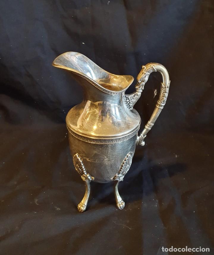 Antigüedades: JUEGO DE CAFE METAL BAÑO DE PLATA - Foto 7 - 228491472