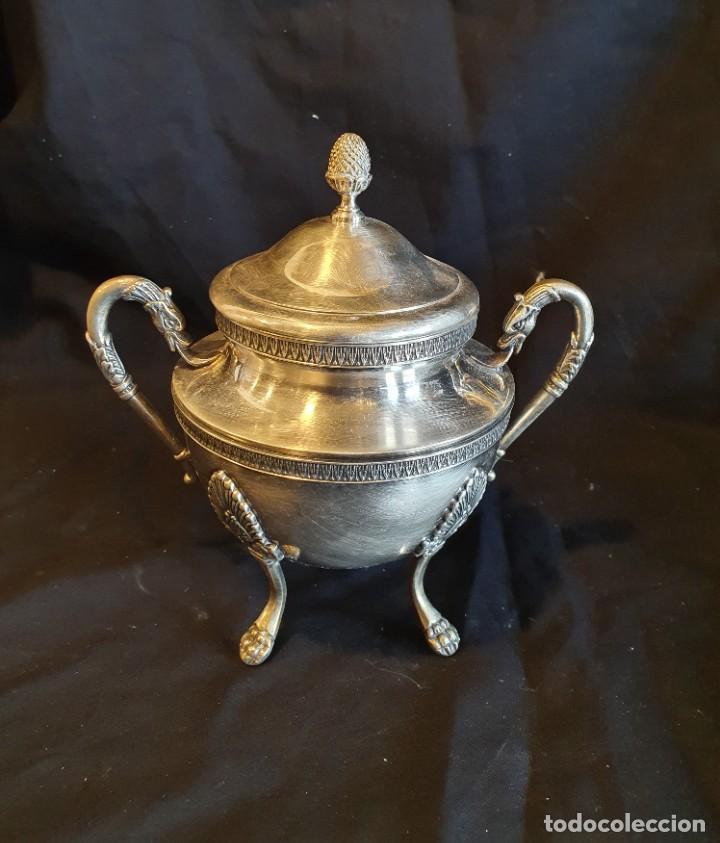 Antigüedades: JUEGO DE CAFE METAL BAÑO DE PLATA - Foto 8 - 228491472