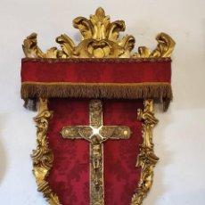 Antigüedades: RETABLO MADERA TALLADA CON PAN DE ORO. Lote 228564370
