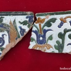 Antigüedades: LOTE 2 FRAGMENTOS DE AZULEJOS ANTIGUOS DE TOLEDO - ARISTA O CUENCA - RENACIMIENTO - SIGLO XVI.. Lote 228650325