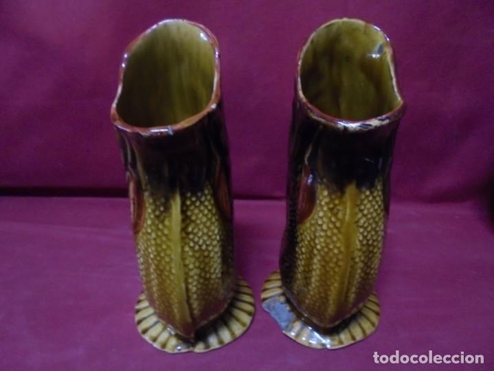 Antigüedades: magnifica antigua pareja de jarrones de ceramica - Foto 2 - 228703150