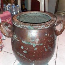 Antigüedades: TINAJA DE BARRO ESMALTADO, MARCA CG Y 3/4. VER FOTOS.... Lote 228720585