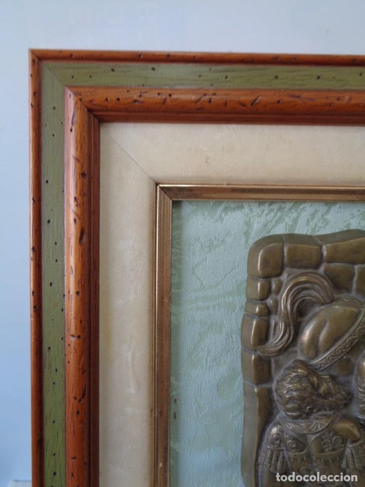 Antigüedades: ¡¡ CABALLERO MEDIAVAL , CAIDA DEL CABALLO. PLACA. !! - Foto 2 - 228730775