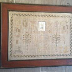 Antigüedades: CUADRO PUNTO DE CRUZ MOTIVO RELIGIOSO FRANCISCO JAVIER SIGLO XIX. Lote 228748025