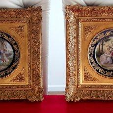 """Antigüedades: ANTIGUOS CUADROS FRANCESES CON PORCELANAS DE FIRMADOS """"EDUOARD GARNIER""""FINALES DE 1850-1890. Lote 228754715"""