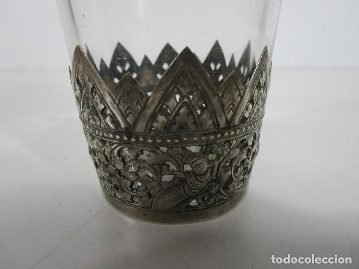 Antigüedades: Bonito Vaso de Cristal - Plata de Ley Cincelada - Foto 2 - 228847385