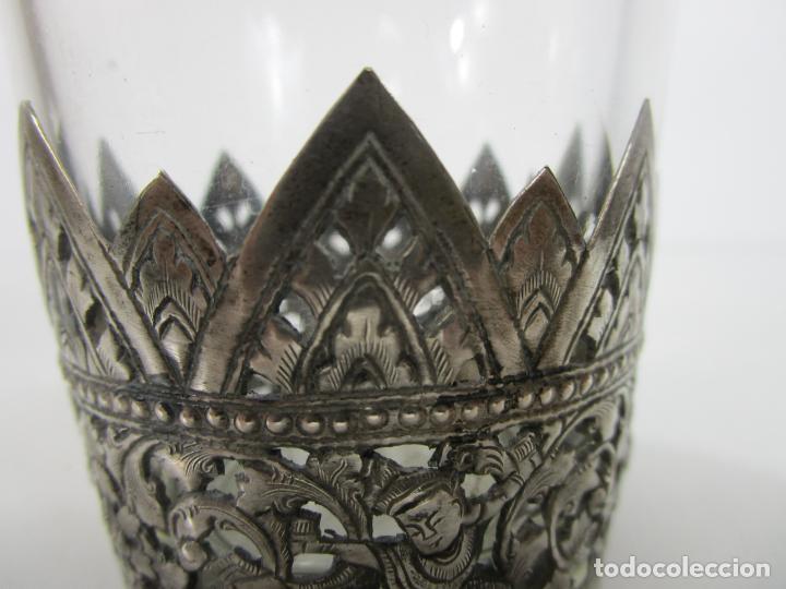 Antigüedades: Bonito Vaso de Cristal - Plata de Ley Cincelada - Foto 4 - 228847385