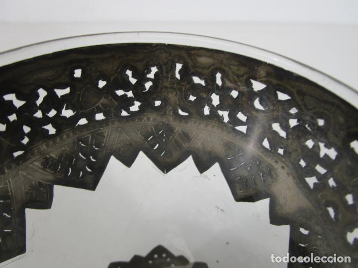 Antigüedades: Bonito Vaso de Cristal - Plata de Ley Cincelada - Foto 11 - 228847385