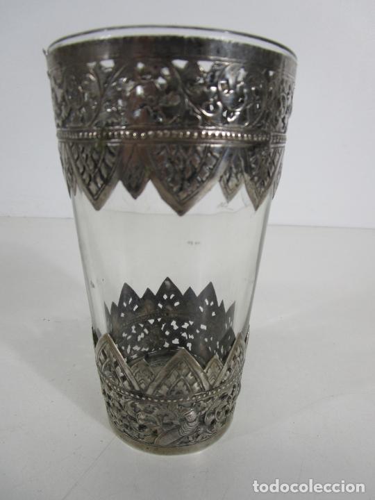 Antigüedades: Bonito Vaso de Cristal - Plata de Ley Cincelada - Foto 14 - 228847385