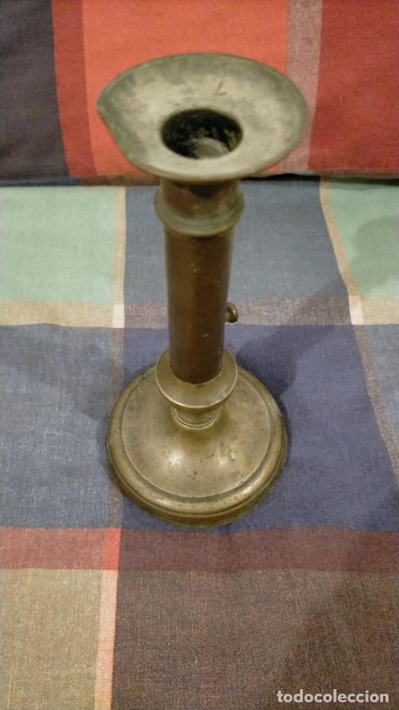 Antigüedades: PORTAVELAS DE BRONCE DEL SIGLO XIX, 21 X 10.2 - Foto 2 - 228934955